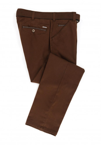 Meyer Mens Chicago Belted Trousers, Brown