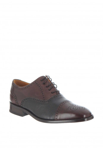 Mezlan Two Tone Leather Shoe, Chestnut Brown