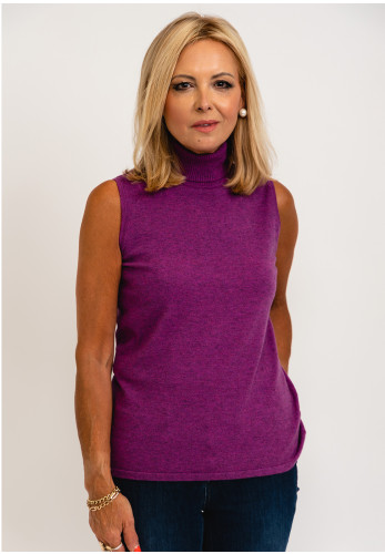 Micha Knitted Roll Neck Vest Pullover, Purple