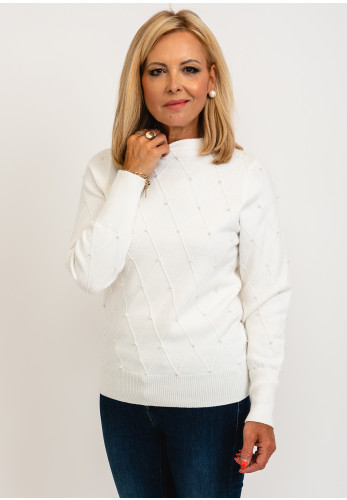 Micha Quilted Pearl Detail Knit Jumper, Cream