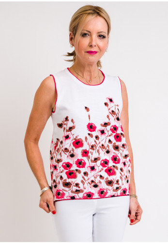 Leon Collection Floral Sleeveless Jumper, White & Pink