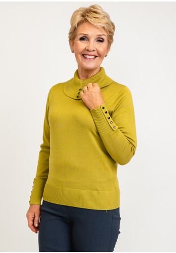 Micha Buttoned Roll Neck Knit Jumper, Lime