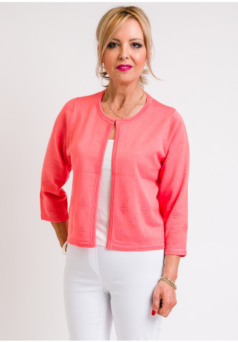 Leon Collection Embossed Print Short Cardigan, Coral