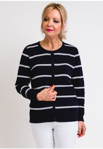 Leon Collection Embossed Stripe Cardigan, Navy