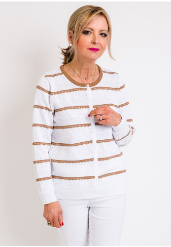 Leon Collection Embossed Stripe Cardigan, White