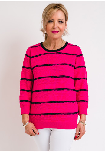 Leon Collection Embossed Stripe Jumper, Deep Pink
