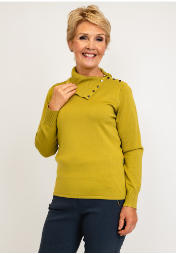 Micha Button Detail Roll Neck Knit Jumper, Lime