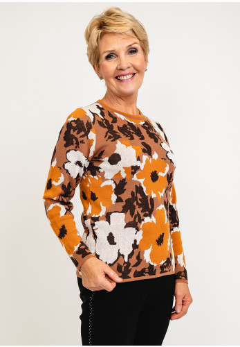 Micha Abstract Flower Print Knit Pullover, Rust Multi