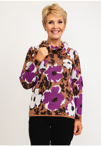 Micha Abstract Flower Print Cowl Neck Knit Pullover, Purple Multi