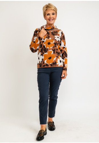 Micha Abstract Flower Print Cowl Neck Knit Pullover, Rust Multi
