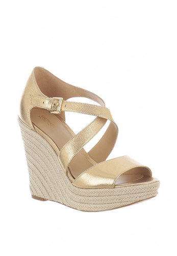MICHAEL Michael Kors Abbott Leather Wedge Sandals, Gold