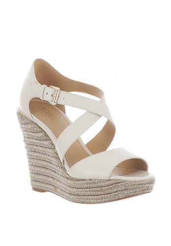 MICHAEL Michael Kors Abbott Leather Wedge Sandals, Cream
