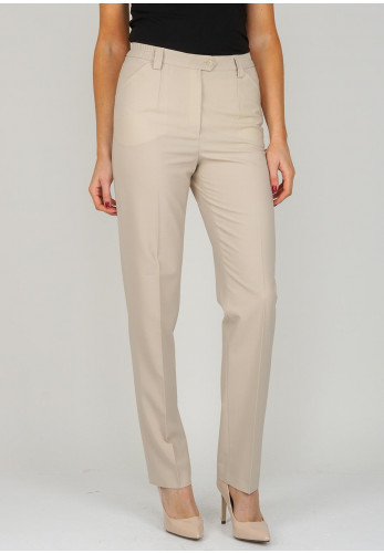 Michele Short Length Slim Leg Trousers, Beige