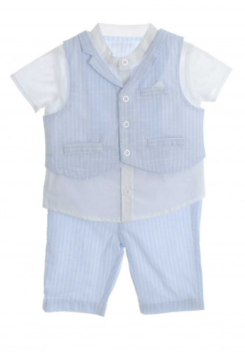 Mintini Baby Boys 3 Piece Outfit, Blue