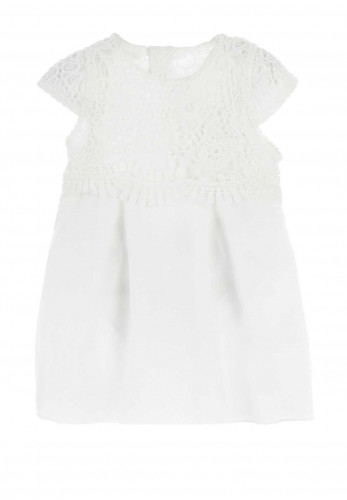 Mintini Baby Girls Lace Bodice Dress and Hat, White