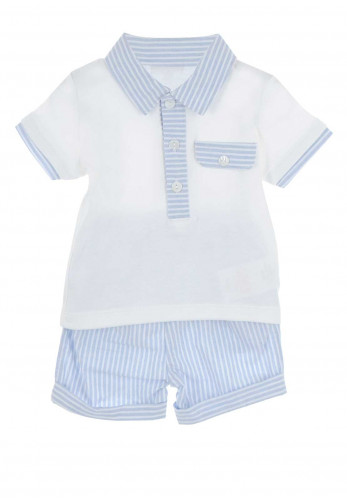 Mintini Baby Boys Top and Shorts, Blue