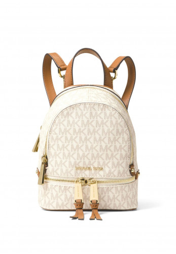 MICHAEL Michael Kors Rhea Mini Leather Convertible Logo Backpack, Vanilla