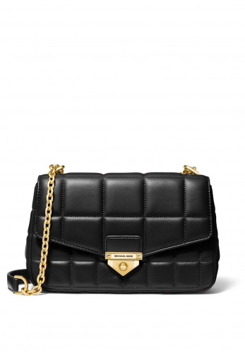 MICHAEL Michael Kors Soho Medium Leather Quilted Crossbody Bag, Black