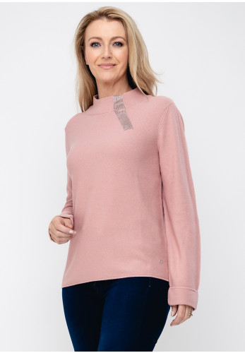 Monari Gemstone Trim Knit Jumper, Pink