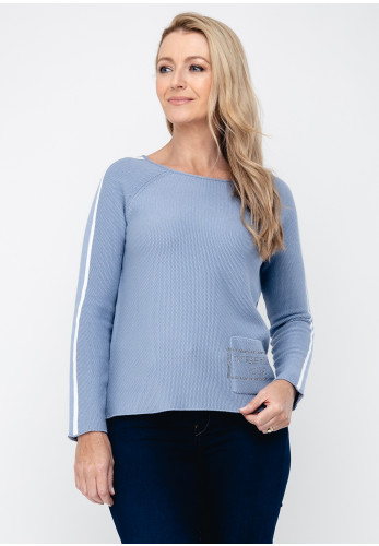 Monari Embellished Pocket Knit Jumper, Blue