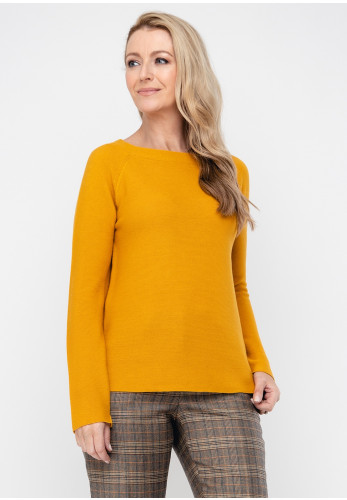 Monari Cotton Blend Knit Jumper, Mustard