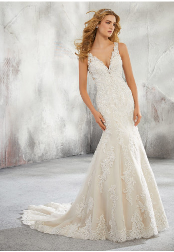 Mori Lee 8274 Wedding Dress Ivory UK Size 14, Ivory
