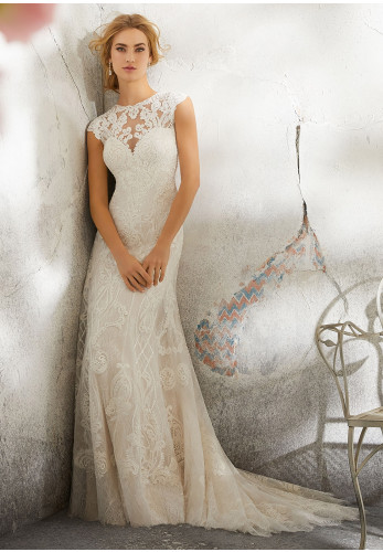 Mori Lee 8288 Wedding Dress UK Size 14, Ivory