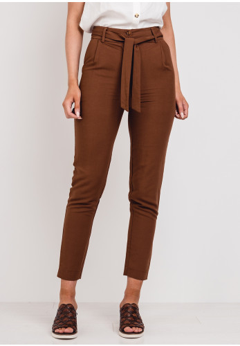 Moutaki Linen Blend Tapered Trousers, Brown