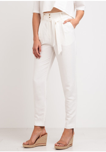 Moutaki Linen Blend Tapered Trousers, Cream
