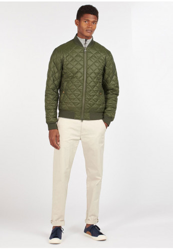 Barbour Gabble Quilted Bomber Jacket, Olive