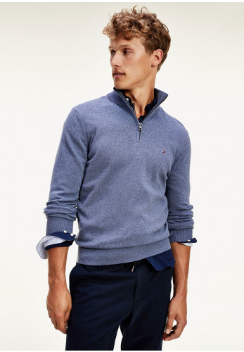 Tommy Hilfiger Cotton Cashmere Zip Mock Jumper, Faded Indigo Heather