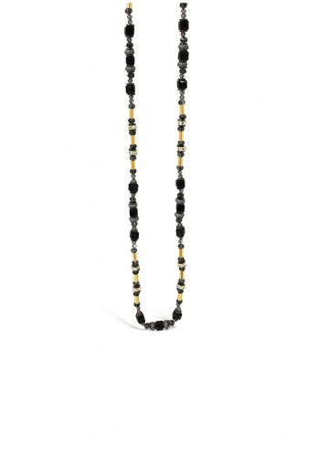 Absolute Jet Bead Long Necklace, Rose Gold