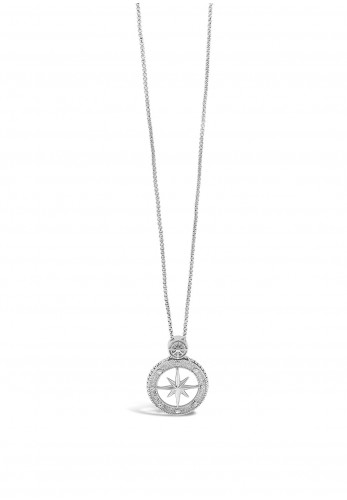 Absolute Embellished Compass Necklace, Silver
