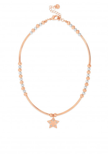 Absolute Beaded Star Charm Necklace, Rose Gold
