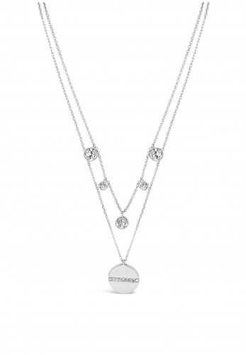 Absolute Double Chain Diamante & Disc Pendent Chain, Silver