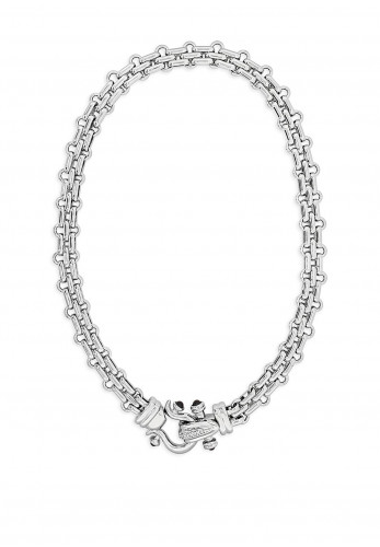 Absolute Embellished Lock Necklace, Silver