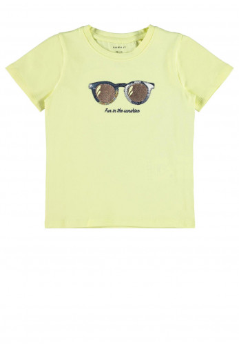 Name It Mini Girls Summer Vibes T-Shirt, Yellow