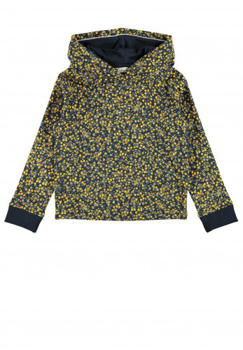 Name It Girls Teela Flower Print Hoodie, Navy
