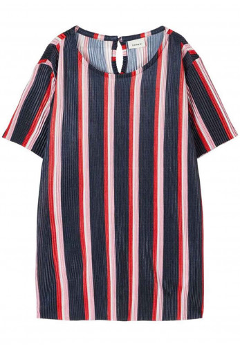 Name It Girls Bisma Pleated Striped Top, Navy