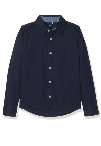 Name It Boys Solid Long-Sleeved Shirt, Navy