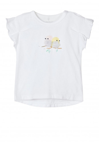 Name It Baby Girls Harmony Frilled Short Sleeve Top, White
