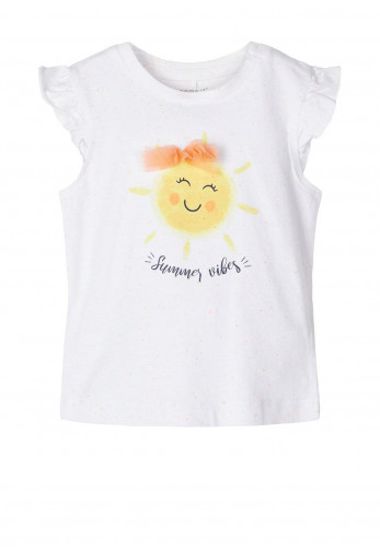 Name It Baby Girls Jane Frilled Short Sleeve Top, White