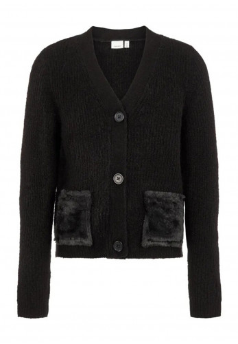 Name It Girls Foiana Pocket Knit Cardigan, Black