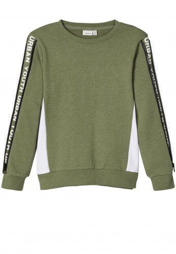 Name It Boys Dilipo Zip Sleeve Sweatshirt, Green