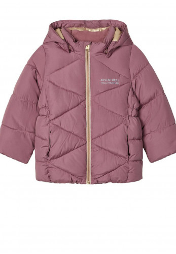 Name It Girls Milton Water Repellent Quilted Puffer Jacket, Mauve