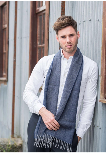 Weaver & Wilde Herringbone Scarf, Navy & Grey