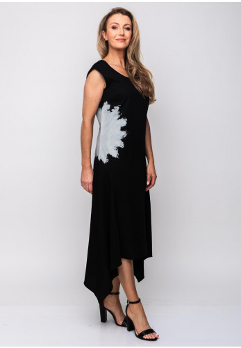 Naya Splash Print Sleeveless Maxi Dress, Black