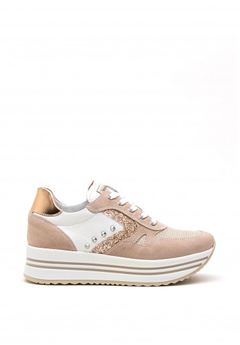 Nero Giardini Mesh and Leather Platform Trainers, Taupe