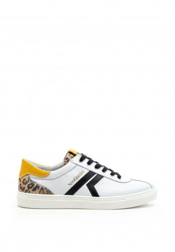 Nero Giardini Leopard Panel Leather Trainers, White