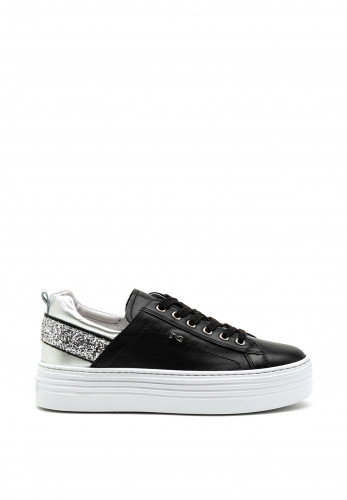 Nero Giardini Glitter Panel Platform Leather Trainers, Black